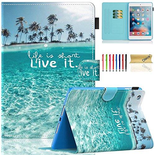 Dteck iPad Mini Case, Mini 2/3/4 Case, Slim Premium PU Leather Folio Stand Wallet Cover Smart with Auto Wake/Sleep Magnet Case for Apple iPad Mini 1/ Mini 2/ Mini 3/ Mini 4, Beach