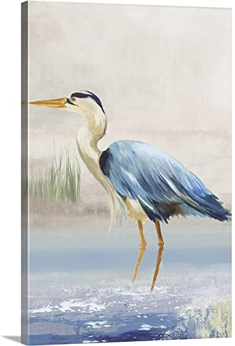 Heron on The Beach II Canvas Wall Art Print