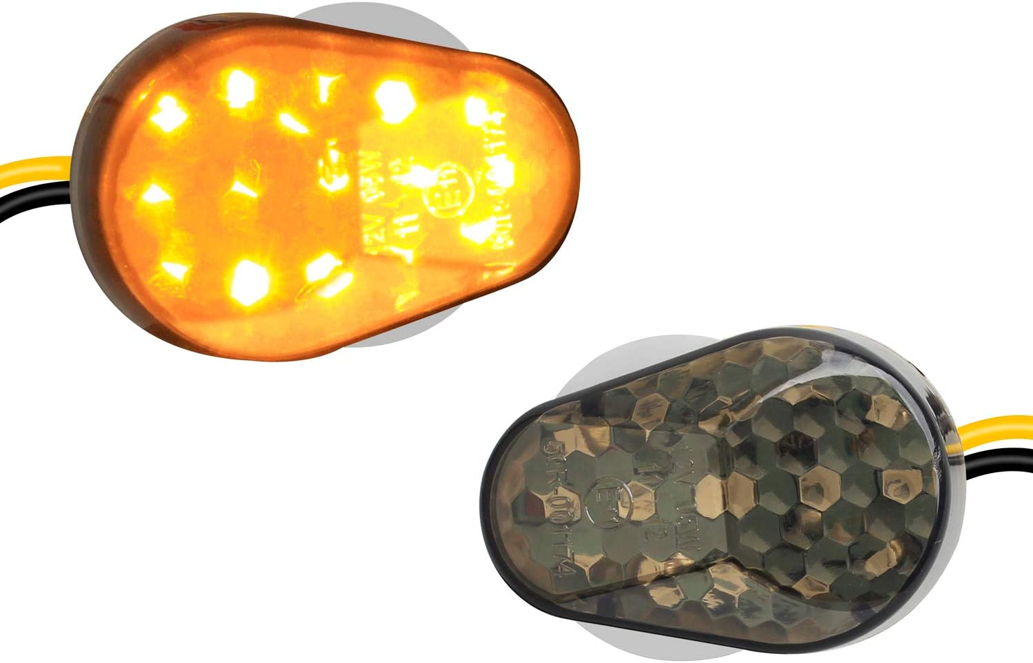 2Pcs Amber Flush Mount LED Turn Signal Lights Compatible with Kawasaki ZX6R, ZX7R, ZX9R, ZX636, ZX12R, ZZR600- Universal 12V Motorcycle Indicators