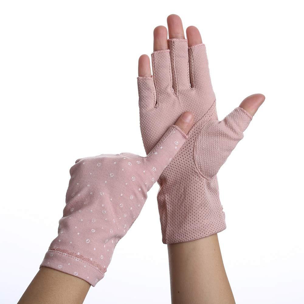 Guanti per protezione solare per ragazze Open Toe Traspirante antiscivolo Outdoor UPF 45 Guanti per protezione solare (Colore   Deep rosa, Dimensione   L-Ten pairs)