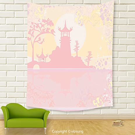 Amazon.com: Vipsung House Decor Tapestry_Pink Decor Old Ancient ...