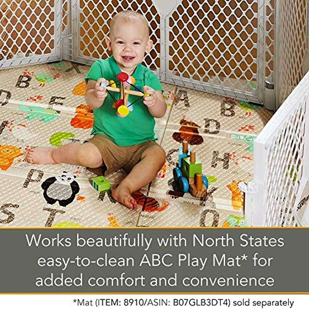 """a 201/"""" North States Superyard 6-Panel Play Yard//Barrier with Wall Mount Kit"""