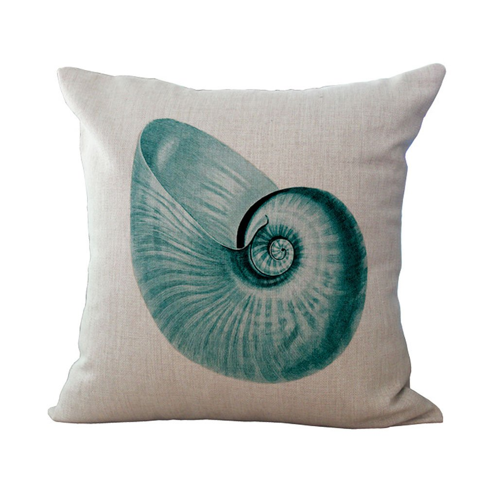 Hengjiang Marine Life Series Linen Blend Sofa Vintage Flower Cushion Cover Square Pillow Case Ocean (coral 03)