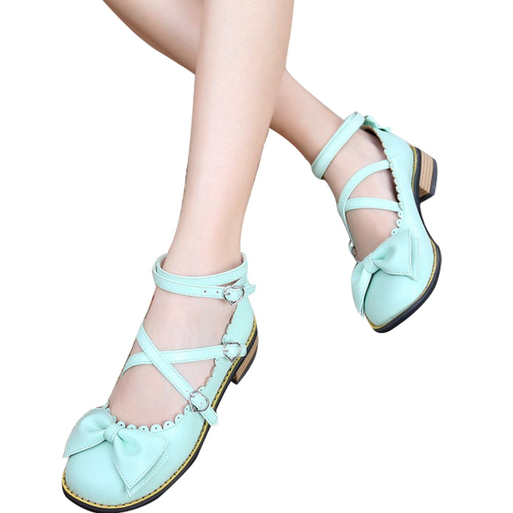 Japanese Sweet Lolita Low Chunky Heels Round Toe Bowtie Strappy M Princess Shoes B06XBZHBLT 8 M Strappy US|Mint Green 648029