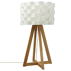Lampe à poser au style épuré - Pied en bambou et abat jour tressé aspect fibre de verre