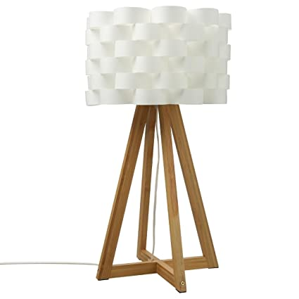 Lámpara de mesa de estilo puro y simple - Pie de bambú y pantalla trenzada de aspecto fibra de vidrio
