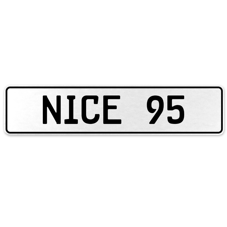 Vintage Parts 555286 Nice 95 White Stamped Aluminum European License Plate