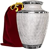 (Adult Urn) - Everlasting Love Cremation Urn For Human Ashes - Beautiful, Timeless and Elegant Brass Urn To Honour The One You Love - Find Comfort Everytime You Look At This High Quality Urn -With Red Velvet Bag