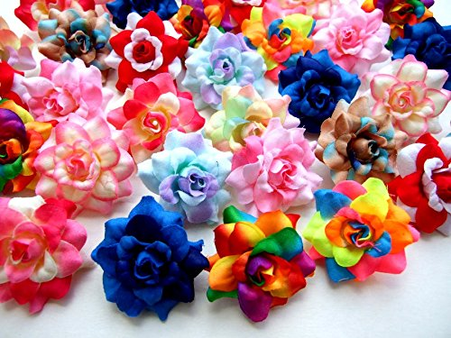 (50) Assorted Roses Silk Flower Head Size 1.75