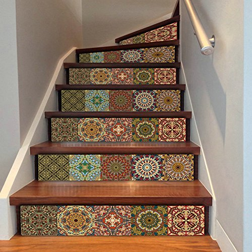 YYC 6 Pcs DIY 3D Boho Style Wall Stair Sticker Kitchen Tile Decals Home Decor StairCase 18x100 cm (Style C)