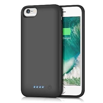 Funda Batería para iPhone 6/6S/7/8, Trswyop 6000mAh Funda Cargador Portatil Batería Externa Ultra Carcasa Batería Recargable Power Bank Case para ...