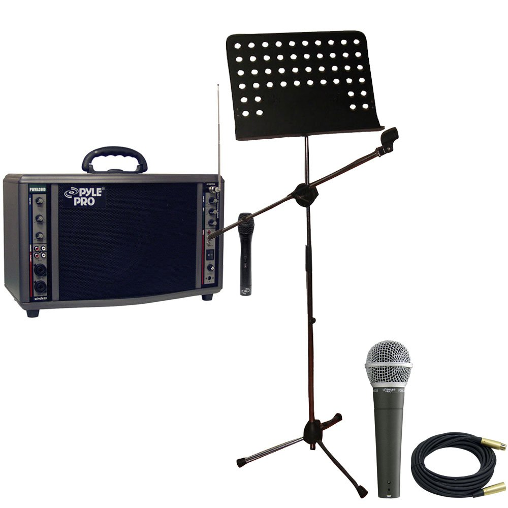 Pyle Speaker, Mic, Cable and Stand Package - PWMA3600 200 Watt Wireless Battery Powered PA System - PDMIC58 Professional Moving Coil Dynamic Handheld Microphone - PMSM9 Heavy Duty Tripod Microphone And Music Note Stand - PPMCL30 30ft. Symmetric Microphone
