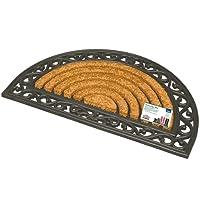JVL Karina Heavy Duty Rubber Coir Door Mat, Rattan, Brown, 45 x 75 cm
