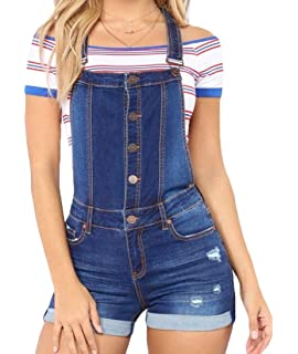 Fubotevic Women Straps Stretch Jean Ripped Stylish Washed with Pockets Denim Overalls