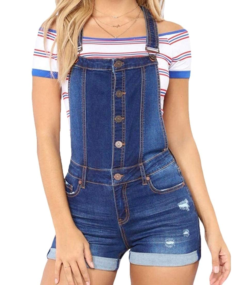 M/&S/&W Womens Shorts Casual Shortalls Denim Bib Overalls Button Front Jumpsuits Rompers