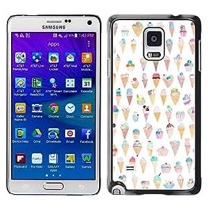 Paccase / SLIM PC / Aliminium Casa Carcasa Funda Case Cover para - Cream Cone Pattern Happy Funny - Samsung Galaxy Note 4 SM-N910F SM-N910K SM-N910C SM-N910W8 SM-N910U SM-N910