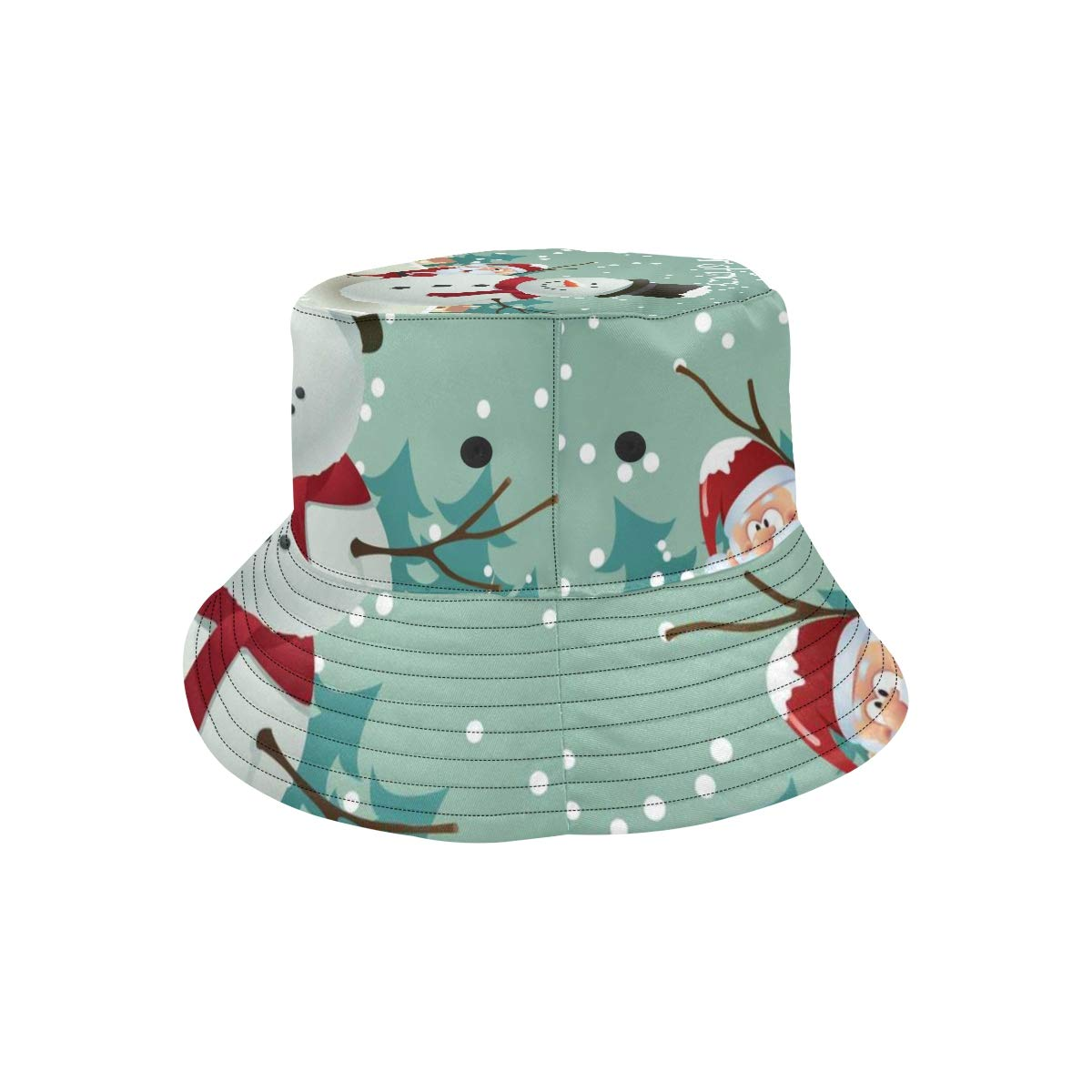 Merry Christmas White Snowman New Summer Unisex Cotton Fashion Fishing Sun Bucket Hats for Kid Teens Women and Men with Customize Top Packable Fisherman Cap for Outdoor Travel