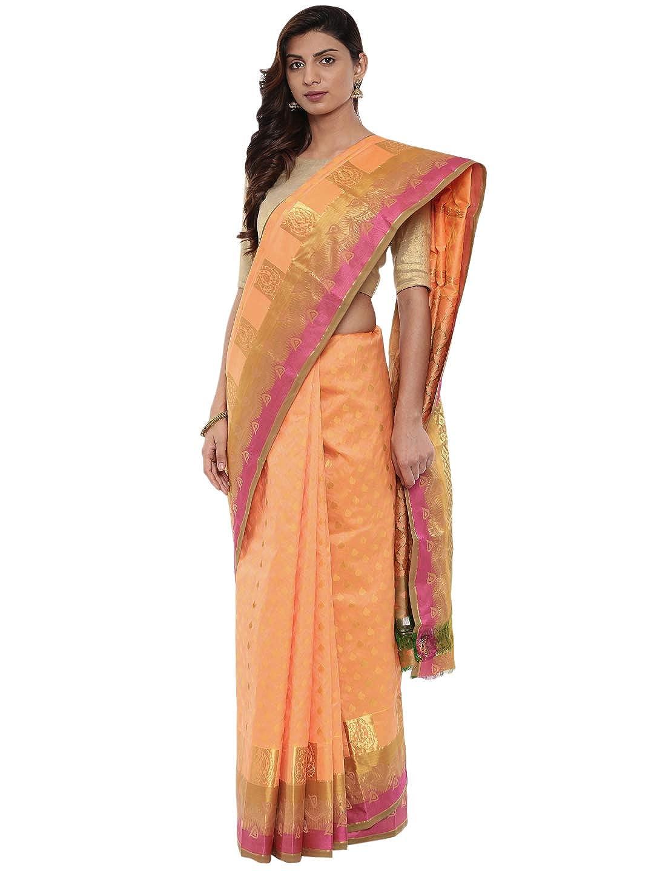 9987b7f17a CLASSICATE From the house of The Chennai Silks Traditional Kanjivaram Silk  Saree (Papaya Orange - CCMYSS9948): Amazon.in: Clothing & Accessories