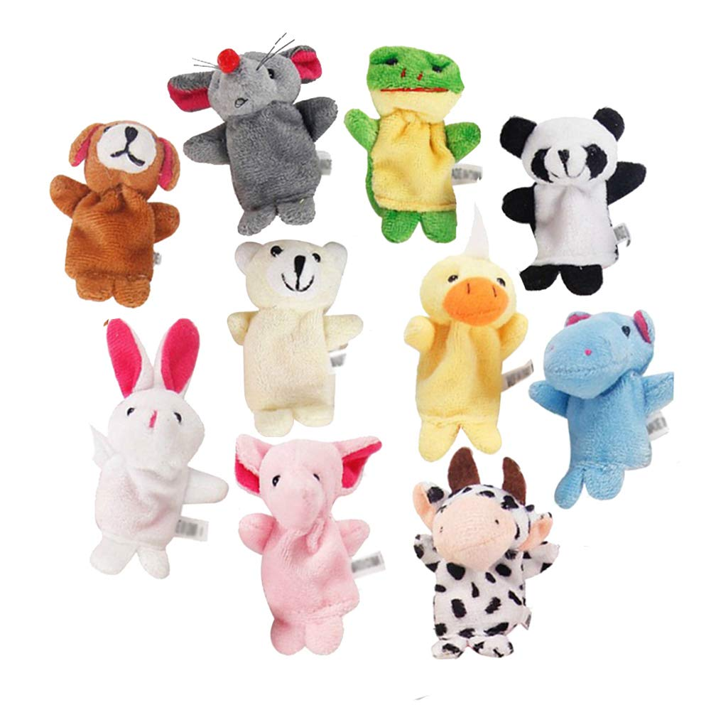 Lumanuby 10 Pcs Finger Puppets Set Animal Hand Puppet Toy Children's Learn Play Toys Cute Animal Velvet Finger Puppet Set Educational Toys for Toddlers Baby Dolls