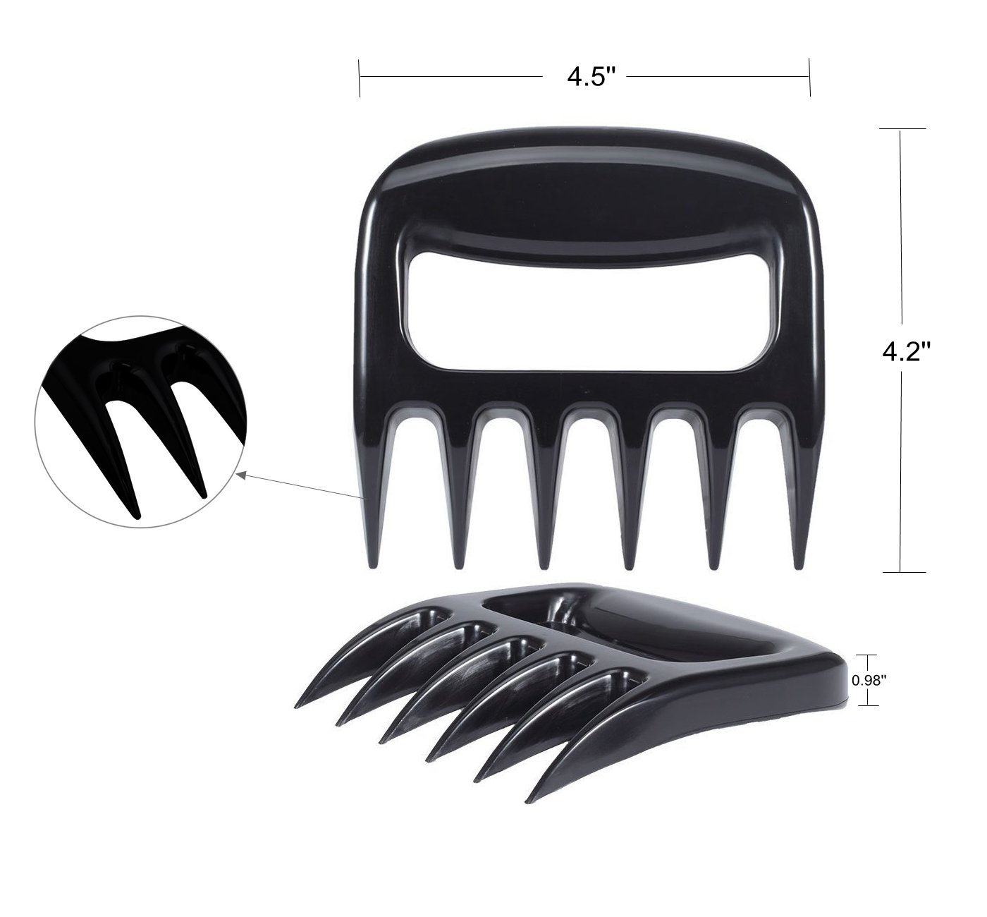 2Meat Shredder Grill Smoker Bear Paw Meat Claws BBQ Grill Meat Handler Fork Tool