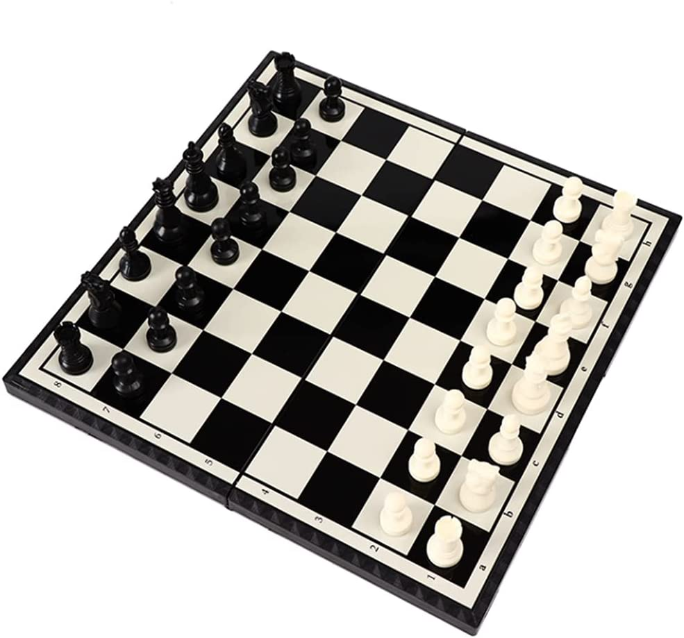 MQH FOLDING PLASTIC INTERNATIONAL CHESS SET PORTABLE FOLDING BOARD TRAVEL CHESS GAME TOY FAMILY GAMES (SIZE : 11.2IN)