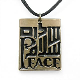 product image for Peace Trinity Black Enamel Pendant Necklace on Adjustable Natural Fiber Cord