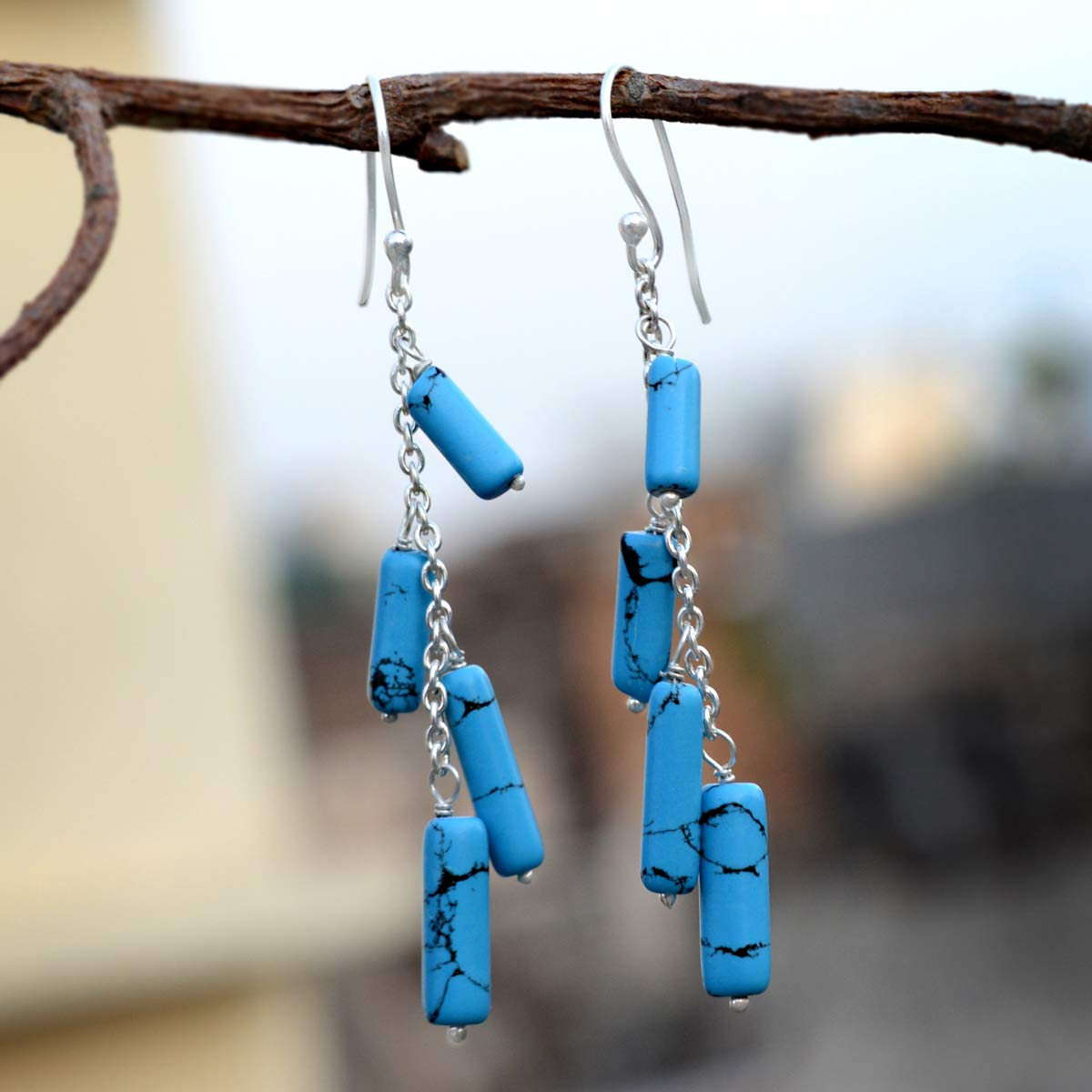 Rolo-chain Dangle Earring Jaipur Rajasthan India Handmade Jewelry Manufacturer Blue Turquoise 925 Sterling Silver