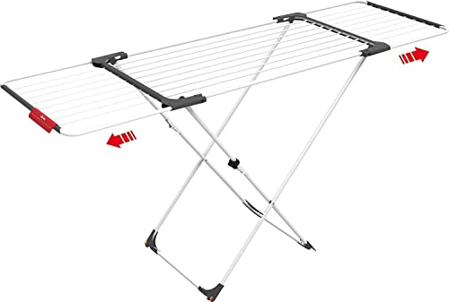Vileda Surprise - Tendedero extensible de acero y aluminio, espacio de tendido de 11 hasta 20 metros, soporte para artículos pequeños, dimensiones abierto 110-187 x 61 x 94 cm, color blanco
