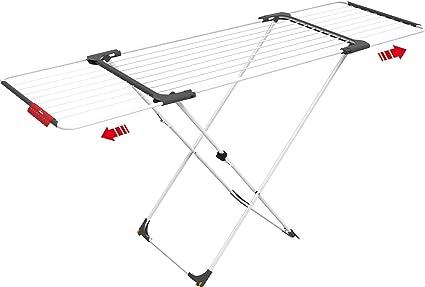 Vileda Surprise - Tendedero extensible de acero y aluminio, espacio de tendido de 11 hasta 20 metros, soporte para artículos pequeños, dimensiones ...