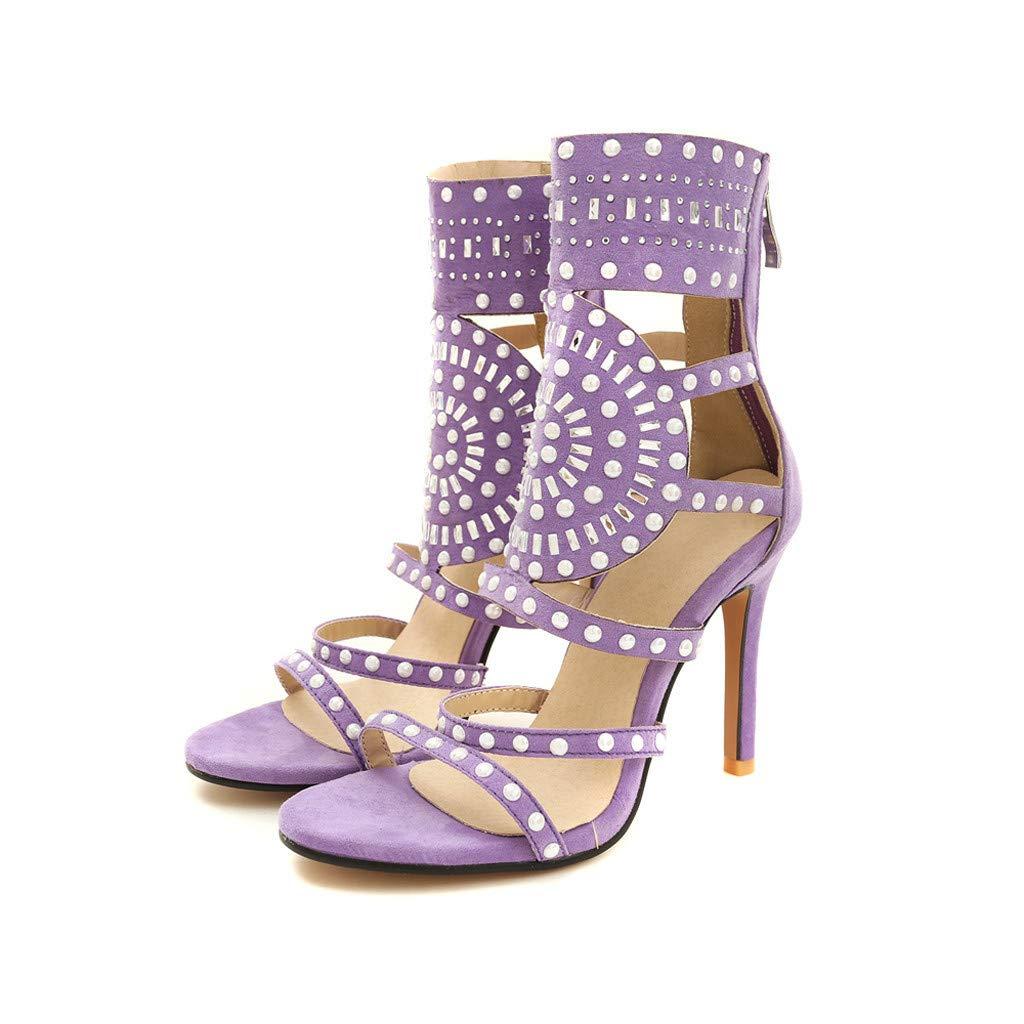 Thenxin New!Rivets Back Zipper High Heel Sandals for Women Open Toe Ankle Strap for Dress Wedding Party (Purple,9 US)