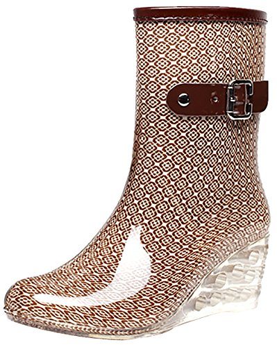 Odema Women's Mid Calf Rain Boots Buckle Side Zipper Wedge High Heel Waterproof Shoes Snow Wellies (Mid Calf Wedge Boots)