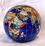 Unique Art 4.3'' (110 mm) Diameter Gemstone Globe Paperweight Paper weight (Blue Pearl Swirl)