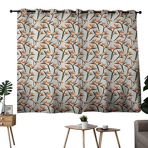 bedroom curtains 2 panel sets Spring,Contemporary Style Birds of Paradise Flowers Tropical Garden Blossoms Bedding Plants, Multicolor,rod pocket drapes Thermal Insulated Panels home décor 42