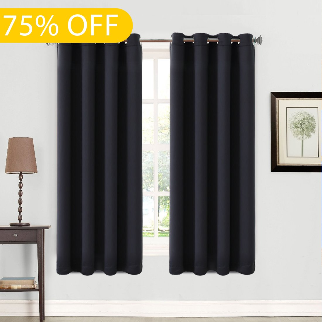 Balichun 99% Blackout 2 Panels Curtains Thermal Insulated Grommets Drapes for Bedroom Black