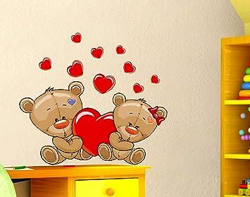 Decorazioni Pareti Orsetti : Stickerdesign adesivi murali bambini orsetti e cuoricino cuori con
