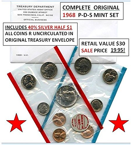 1968 P-D-S COMPLETE UNCIRCULATED 1968 P-D-S U.S. MINT SET w 40% SILVER JFK HALF in ORIGINAL TREASURY PACKAGING & ENVELOPE! Uncirculated ()