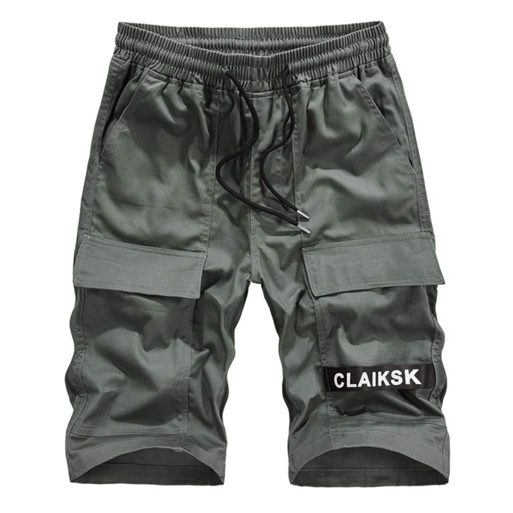 Cianjue_Dress Men Summer Short Casual Drawstring Zipper Pockets Elastic Waist Camouflage Camo Cargo Short