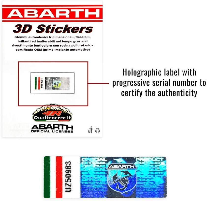 Abarth 32010 Adhesivo 3D con logotipo delantero y trasero del escudo oficial para Fiat 500
