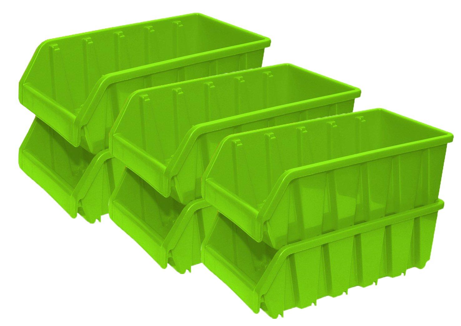 Basicwise QI003255G.6 Plastic Storage Stacking, Set of 6 Green, 6 Piece
