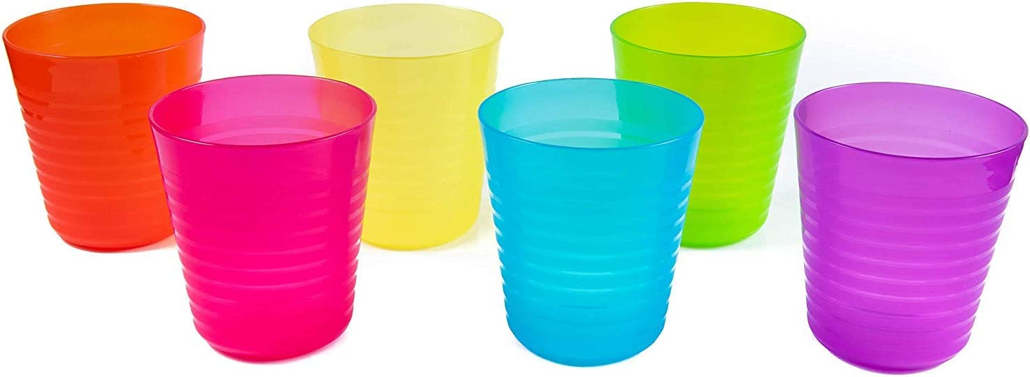 Dishwasher Safe and Microwaveable BPA-Free Cuddly Hippo Kids Plastic Dinnerware Set of 6 Multi Color Cups//Tumblers Reusable