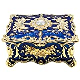AVESON Luxury Vintage Rectangle Metal Alloy Jewelry Box Trinket Organizer Storage Box with Rose Pattern for Women, Girls, Two-Layer Design