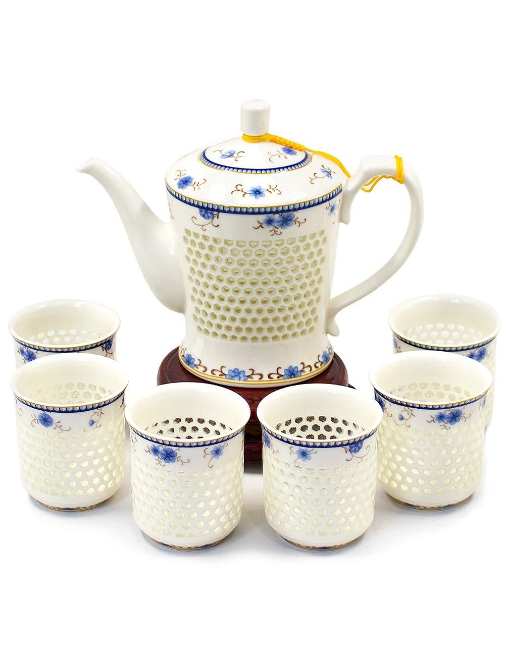 Dahlia Rice Grain Porcelain Tea Set (Teapot + 6 Teacups) in Gift Box, Ling Long Devil's Work Floral