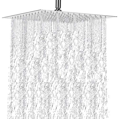 Shower Head Rain Fall Shower Head Large Square Rain Shower Head Stainless Steel Celling Fixed Mounted Joint Chrome Showerhead - Relaxing and Enjoyable the Shower Experience (12 inchs showerhead)