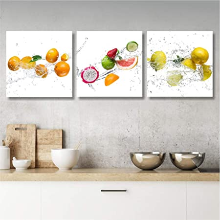 Quadri Cucina Moderni Frutta, Stampa su Tela Canvas 25 x 25, Quadretti da  Parete, Tris per Soggiorno, Bar, Ristorante