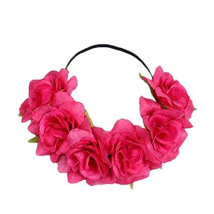 Uesae Diadema de flores florales diadema flor pelo banda Artificial Flores  Cinta Ajustable para Mujer Niña 4bd0f9702ce