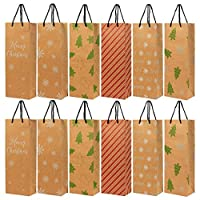 24-Pack Christmas Gift Wine Bags - Kraft Paper Bags, Paper Bags with Handles for Shopping, Christmas Gifts, 6 Assorted Designs - 15.3 x 3.2 x 5.5 I