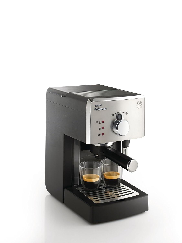 Saeco HD8325/01 - Cafetera Saeco Poemia espresso manual negra y cromada,950W,con Café molido y Easy Serving Espresso (ESE),Bomba de 15 bares, filtro a ...