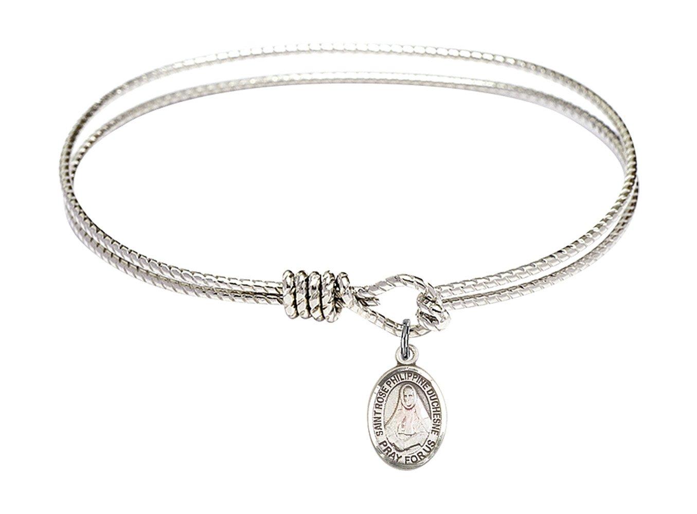 7 1/4 inch Oval Eye Hook Bangle Bracelet w/St. Rose Philippine Duchesne in Sterling Silver