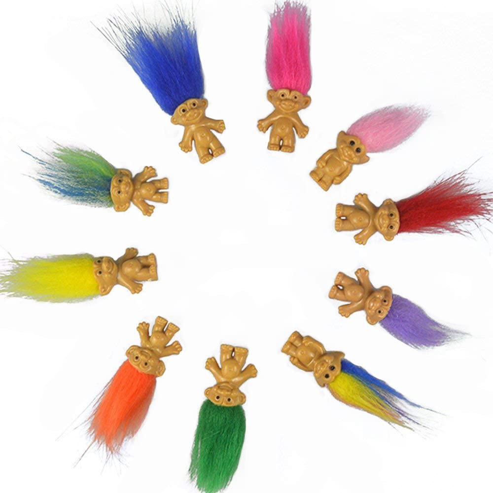 "10Pcs//lot Random vintage trolls Lucky Doll Mini Figures Toys 1/"" cake toppers"