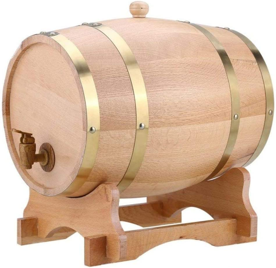 Lku Barril de Vino Reutilizable de Madera de Roble de Madera Vintage para Cerveza Whisky Rum Port Bartender Browser Kit, 10L